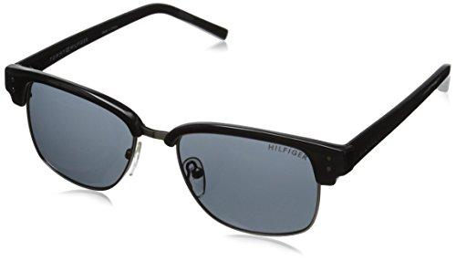Tommy Hilfiger Men's THS 143 Wayfarer Sunglasses, Black & Gunmetal, 56 - Wayfarer Hilfiger Tommy