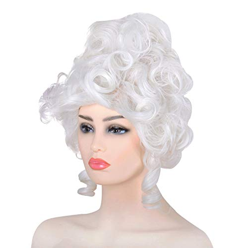 Women Queen Wig 18th Century Versailles French Masquerade Curly Hair Halloween Cosplay (White)