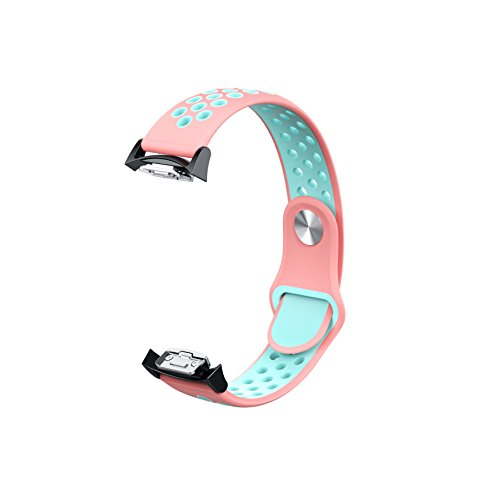 BESTeck Soft Silicone Watch Band Breathable Replacement Strap Fitness Wristband for Samsung Gear S2 SM-720/SM-730 with Black Adapter (Pink/Mint)