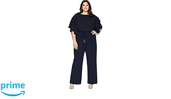 f714cc45239 Amazon.com  Adrianna Papell Women s Plus Size Blouson Ruffle Sleeve Jumpsuit  Midnight 22 W  Clothing