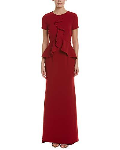 Carmen Marc Valvo Infusion Women's Peplum/Cascade Ruffle Front Gown, Scarlet, 12