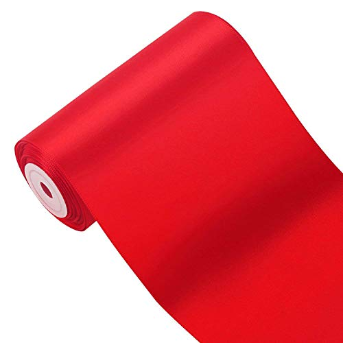 Red Spool - LaRibbons 4 inch Wide Double Face Satin Ribbon Opening Ceremony Ribbon - 10 Yard/Spool, Red