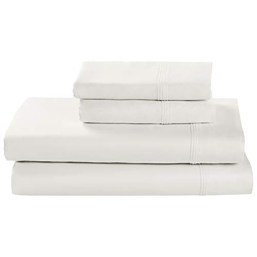 Stone & Beam HygroCotton Sateen Bed Sheet Set, Easy Care, King, White