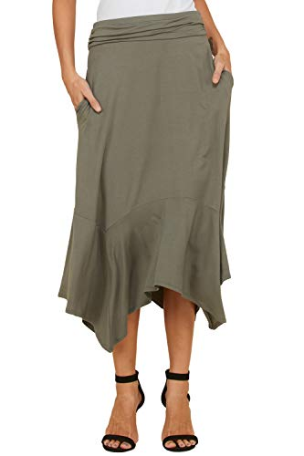 Annaelle Women's Solid Ruffled Hem Foldover Waistband Plus Size Skirt XXX-Large Army Green ()