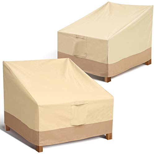 Leafbay Outdoor Chair Patio Furniture Covers - 2 Pack Heavy Duty Waterproof Lawn Patio Chair Lounge Seat Cover 38x31x30 inches (D x W x H) with Air Vent for All Weathers, Medium