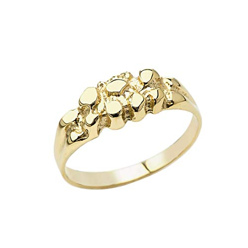Certified Men's 14k Yellow Gold Pinky Nugget Ring (Size 7.5)