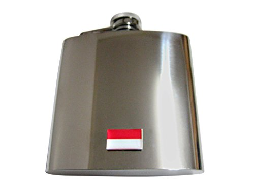 Indonesia Flag Pendant 6 Oz. Stainless Steel Flask by Kiola Designs