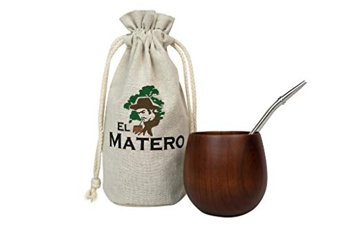 El Matero - [NEW] Easy-Clean, Jujube Wood Maté Gourd with Stainless Steal Bombilla (Yerba Maté Straw/Filter), Set includes BONUS Jute Travel Pouch (Dark Wood)
