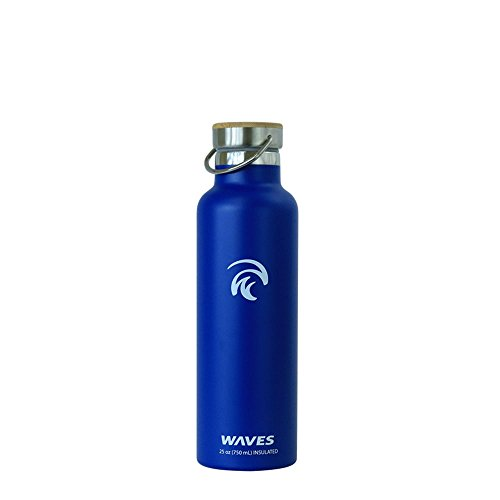 Waves Gear Dual Pane Stainless Steel Insulated Water Bottle, 24 Hours Cold, 12 Hours Hot, 1 Liter, 25 Oz Capacity with Bamboo Cap, Blue