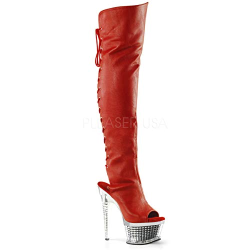 Pleaser Women's ILLUSION-3019 Over The Knee Boot, red Polyurethane/SLV Chrome, 9 M US
