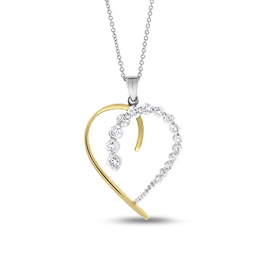 0.73 CT Natural Diamond Heart Pendant with Chain in 14k Two Tone Gold