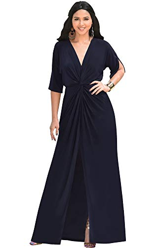 KOH KOH Plus Size Womens Long Sexy V-Neck Short Sleeve Cocktail Evening Bridesmaid Wedding Party Slimming Casual Summer Maxi Dress Dresses Gown Gowns, Dark Navy Blue XL 14-16
