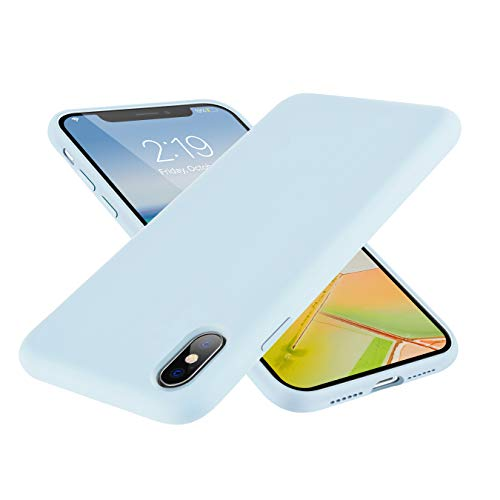 SYMOO Case for iPhone Xs/X,Liquid Silicone Case,Full Body Protection Shockproof Cover Case Drop Protection Case for Apple iPhone X/iPhone Xs 5.8 inch (Light Blue)