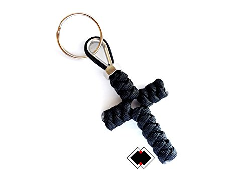 Cross keychain - 550 Paracord - Black - Handmade in USA -