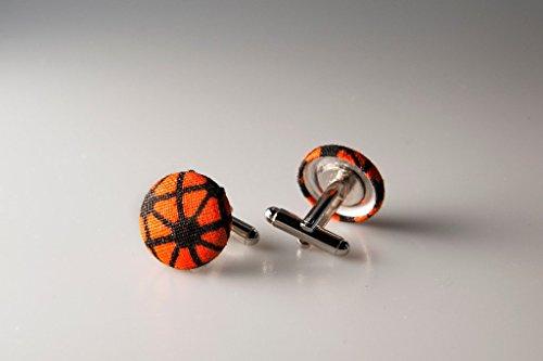 Cufflinks, Fabric button cufflinks, wedding cufflinks, groom cufflinks, African fabric cufflinks, Ankara cufflinks, Orange and black cufflinks
