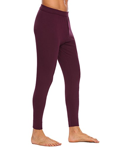 Langle Men's Long Sleepwear Soft Cotton Elastic Waist Pajamas Set (Dark Red, XXL) by Langle (Image #2)