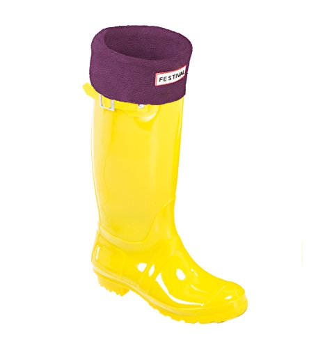 Ladies Original Tall Warm Winter Rain Wellies Wellington Boots Sizes 3-9 UK (5, Yellow/Plum)