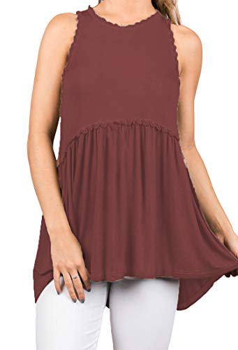 - OURS Women's Casual Zip Up Back Lace Hem Sleeveless Tank Shirts Blouse Tops (Wine Red, L)