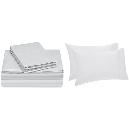 Pinzon Hemstitch 400TC Egyptian Cotton Sateen Sheet Set, Cal