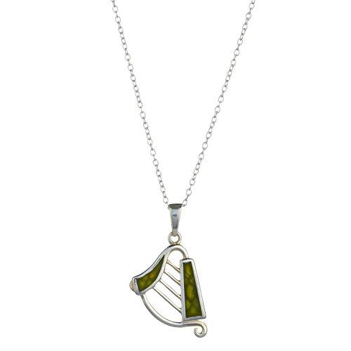 harp-silver-connemara-marble-pendant