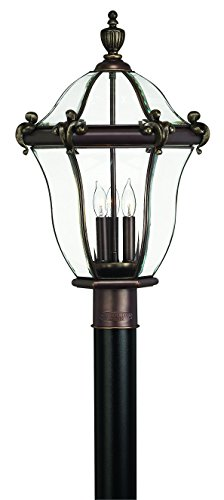 Hinkley 2441CB Traditional Three Light Post Top/ Pier Mount from San Clemente collection in Copperfinish,