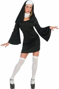 [Funny Fashion Women's Classic Nun Halloween Costume] (Adult Classic Nun Costumes)