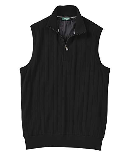 Bobby Jones Clothes for Men - Merino 1/4 Zip Wind Vest - Fully Lined Men's Quarter Zip Vest Black