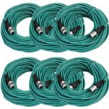 SEISMIC AUDIO - SAXLX-100 - 6 Pack of 100' Green XLR Male to XLR Female Microphone Cables - Balanced - 100 Foot Patch Cords