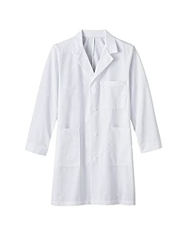 G Med Unisex Solid Button Up Lab Coat with Pockets (Sizes XS-3XL)(OW-MED,WHT-L) - Topaz Button