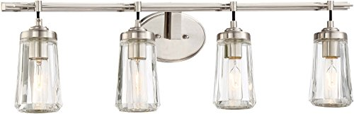 Minka Lavery Wall Light Fixtures 2304-84 Poleis Wall Bath Vanity Lighting, 4-Light, 240 Watts, Brushed Nickel