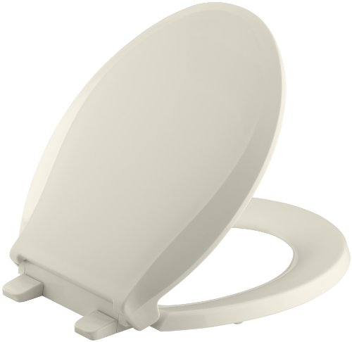 KOHLER K-4639-47 Cachet Quiet-Close with Grip-Tight Bumpers Round-front Toilet Seat, Almond ()