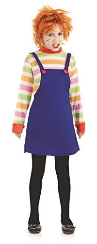 Girls Childs Dead Evil Doll Dummy Halloween Film Fancy Dress Costume Outfit 4-12 (6-8 Years) -