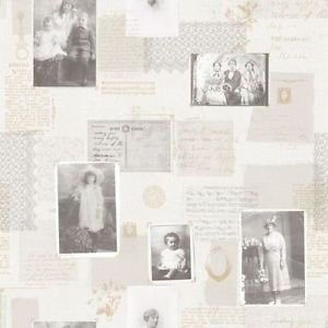 Galerie Wallcoverings Memories 2 G56131 Cream, Black, Silver, Gold Victorian Pictures Wallpaper