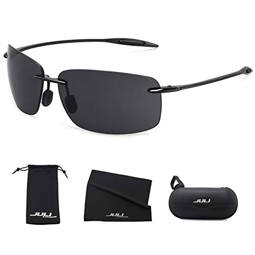 (JULI Sports Sunglasses for Men Women Tr90 Rimless Frame for Running Fishing Golf Surf Driving Cycling Lifestyle MJ8008)