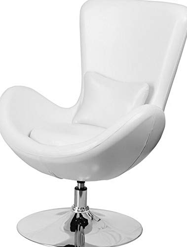 Price comparison product image Mikash Contemporary Design White Leather Egg Series Reception Lounge Accent Side Chair / Model LNGCHR - 60