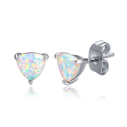 - CERSLIMO Opal Stud Earrings 18K White Gold Plated Blue Triangle Birthstone Earrings For Women