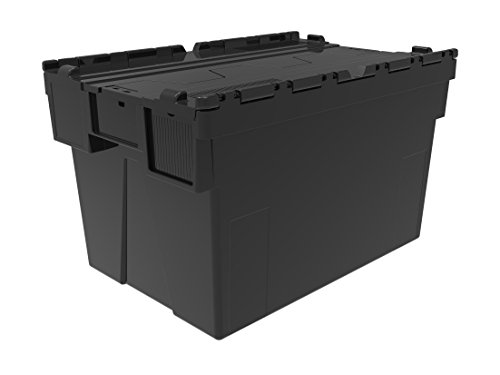 10 x Attached Lidded Plastic Box 65 Litres – Recycled Plastic Storage Box Container Crate Tote with Tessellated Lid…