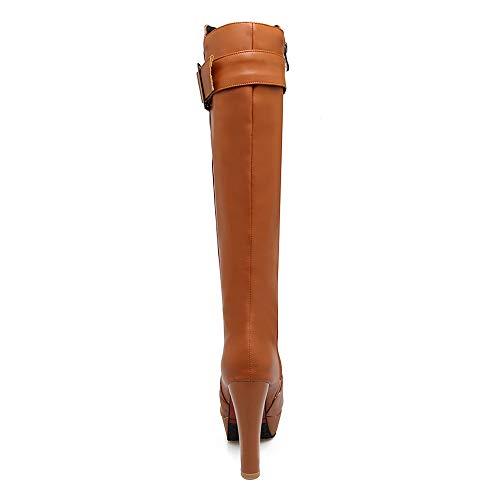 Fermeture Lock glissière à Platform brune Women Heel Razamaza Boots xU1waq6