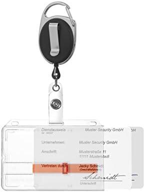 Kim Kranholdt – Funda para tarjeta identificativa tarjeta soporte para hasta 2 tarjetas rígida de plástico con cremallera y mosquetón para tarjetas de ...