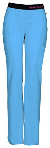 HeartSoul Scrubs Women's Head Over Heels so in Love Low Rise Pull-on Pant, Turquoise -