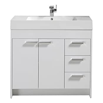 Eviva EVVN900 8 36WH Lugano 36 Inch White Modern Bathroom Vanity With  Integrated Acrylic