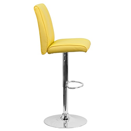 Contemporary Vinyl Adjustable Height Barstool With Base Black/16.25''L x 18.75''W x 38.75 - 47.25''H/Chrome Metal