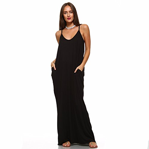 (Isaac Liev Women's Casual Maxi Dress with Pockets (Large, Black))