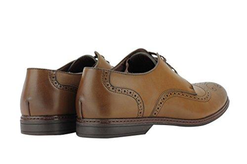Shoe Avenue - Zapatos de cordones de piel sintética para hombre Marrón marrón JQNP5j13R