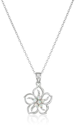 Sterling Silver Created Opal Flower Pendant Necklace, 18