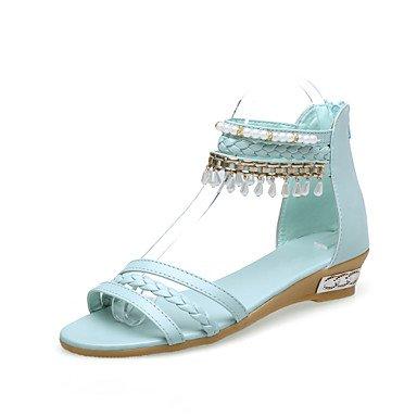 LvYuan Mujer-Tacón Plano-Zapatos del club-Sandalias-Exterior Vestido Informal-PU-Azul Rosa Beige Blue