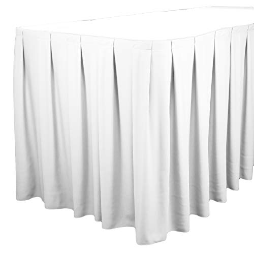 TableLinensforLess Polyester Table Skirt, Table Height (17 Foot Box Pleat, - 100% Polyester Table Skirts