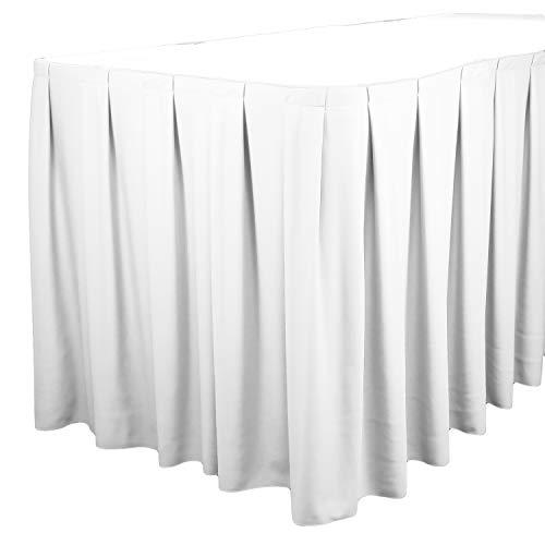 - TableLinensforLess Polyester Table Skirt, Table Height (17 Foot Box Pleat, White)