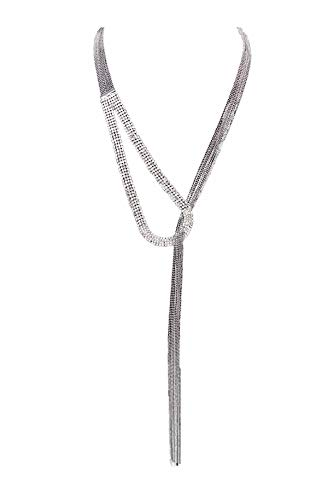 Nataliya Triple Layer Pendant Necklace (Silver Long Scarf Multi-Chain Necklace)