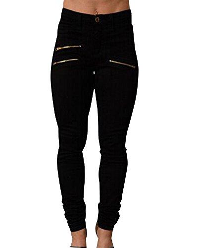 Leggings ZhuiKun Mince Femme Taille Moulant Noir Droit Haute Pantalon wpTqfUS